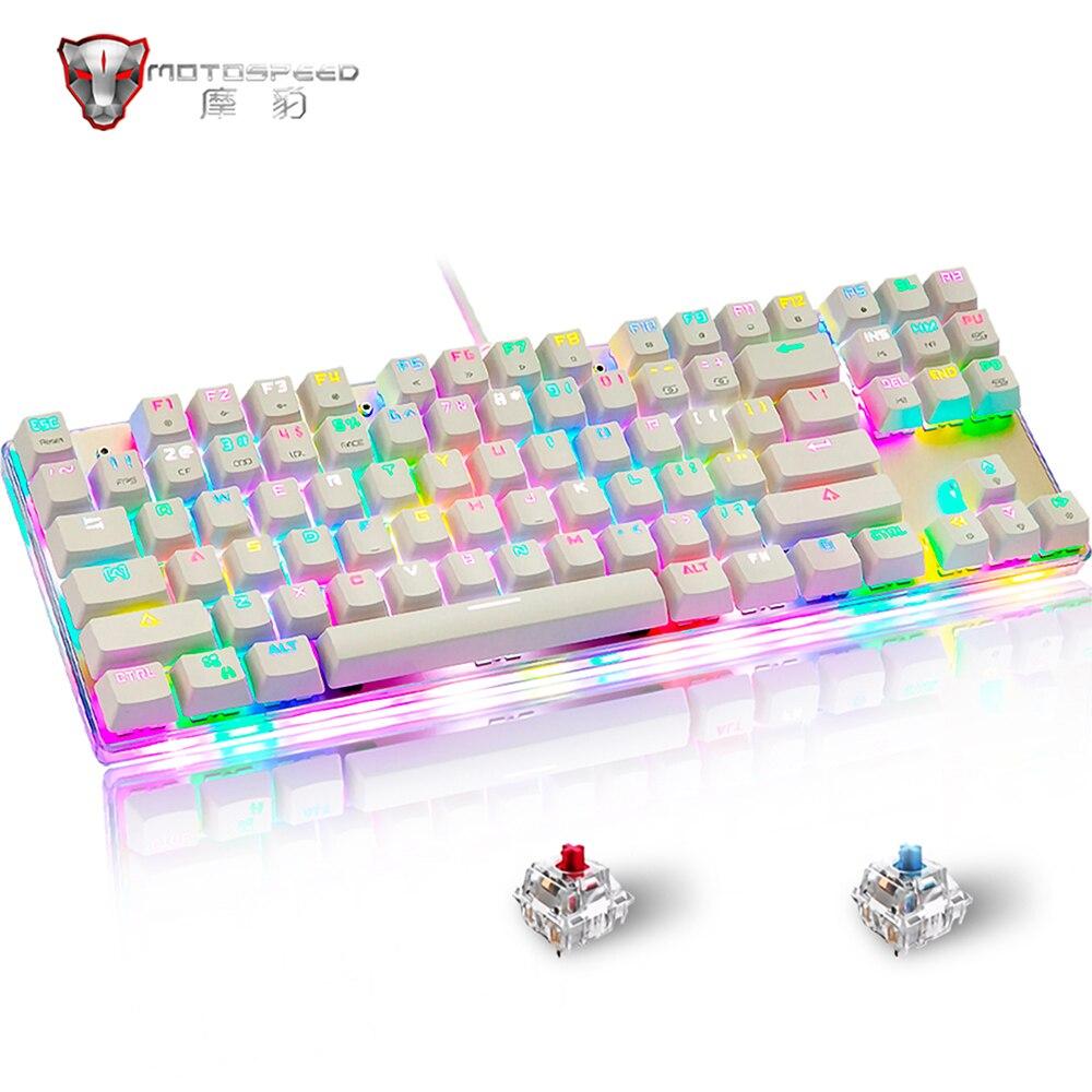 K87S لوحة المفاتيح الميكانيكية السلكية الألعاب لوحات المفاتيح RGB مزيج الخلفية 87 مفاتيح لعبة كمبيوتر محمول الألعاب مكتب
