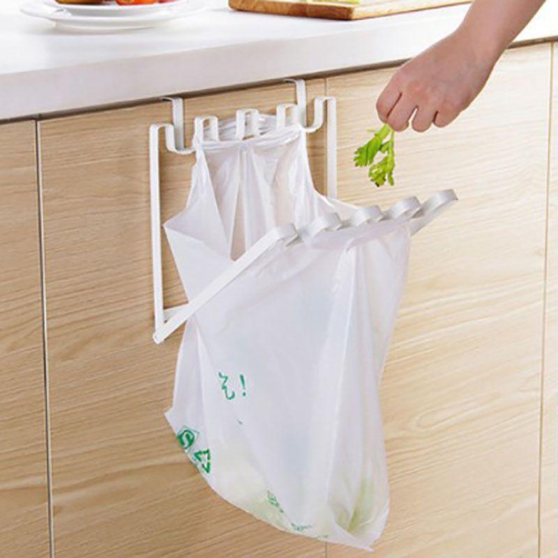 Кухонный стеллаж для хранения, держатели, крючки, складной железный подвесной стеллаж для мешков для мусора, портативный бытовой контейнер ...