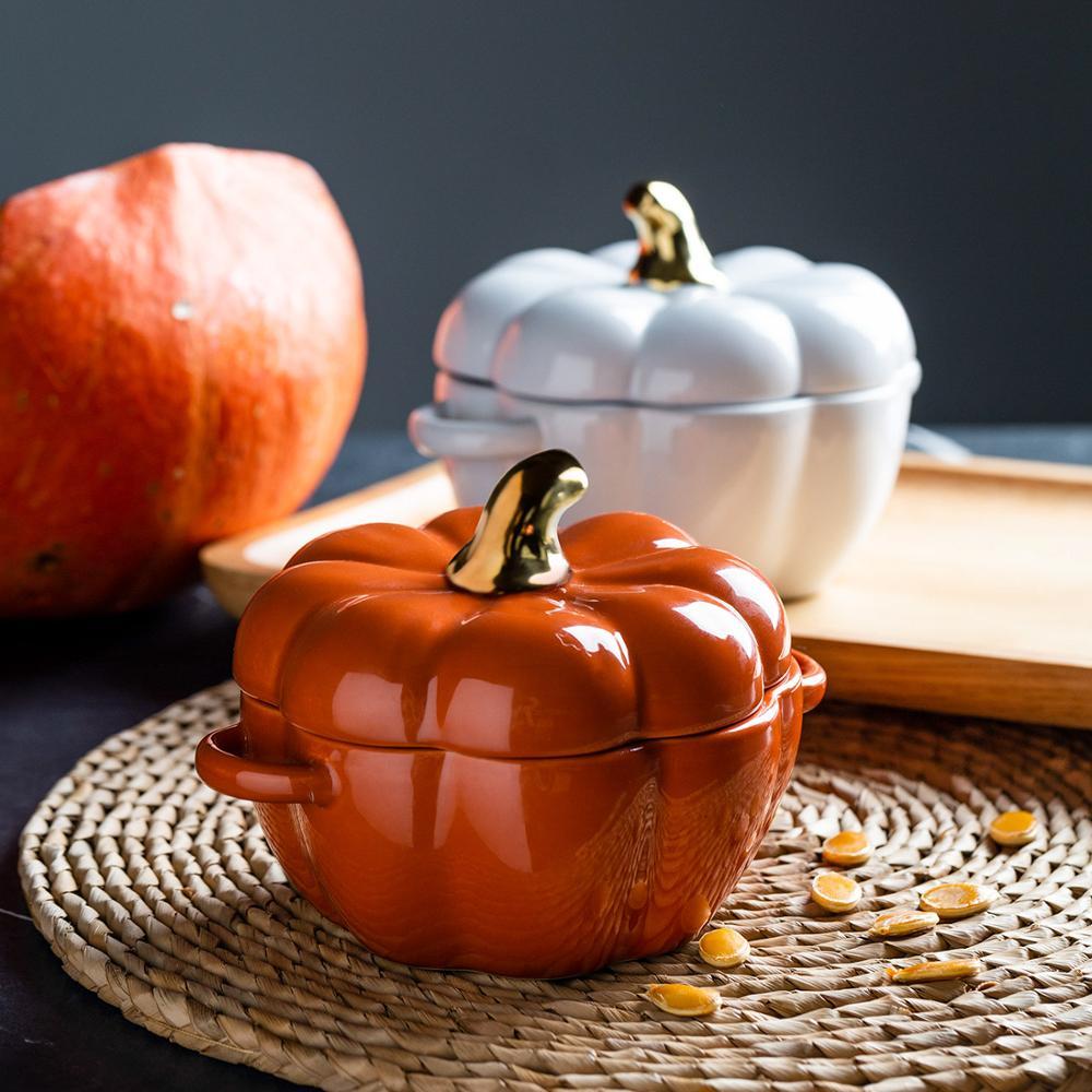 وعاء الخبز على شكل اليقطين مع غطاء ، للشوربة أو السلطة ، أو الشواية أو الكريسماس أو الهالوين ، أو فرن الخبز