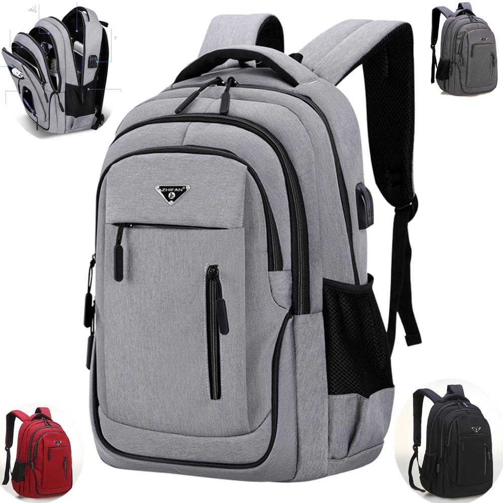 Men Computer SchoolBag Business Bag Oxford Waterproof Rucksack College Daypack Large 15.6 Inch /17.3 Inch Laptop Backpack USB