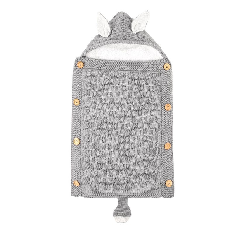 Saco de dormir de carrito para bebé recién nacido, sobre de zorro de dibujos animados, bolso de bebé tejido de otoño, saco de dormir gris para bebé