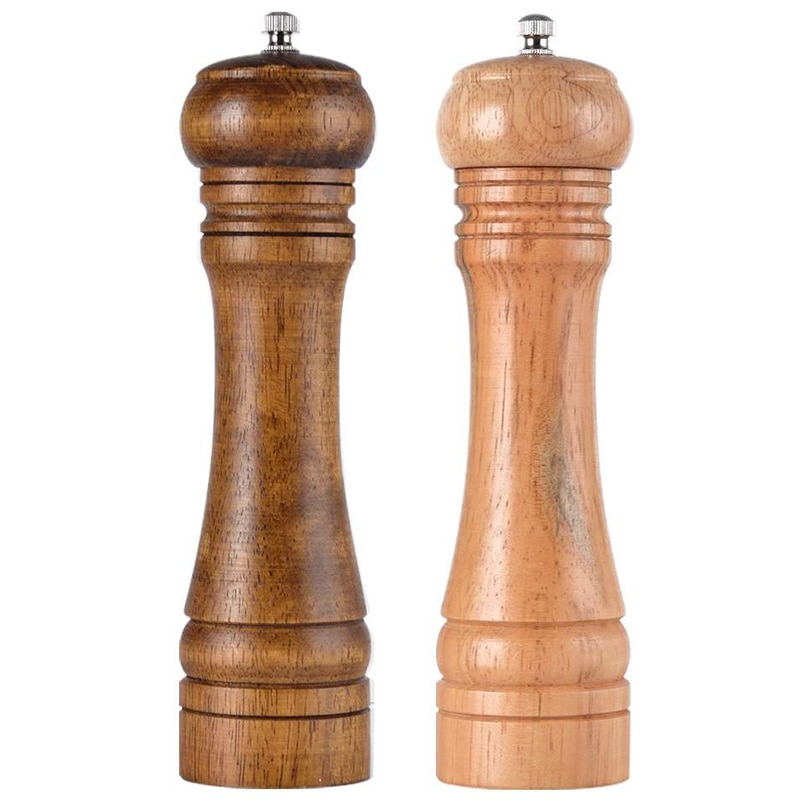 Molinillos de sal y pimienta, molinos de sal y pimienta de madera de roble Rotor de cerámica con fuerte aspereza ajustable [Juego de 2]