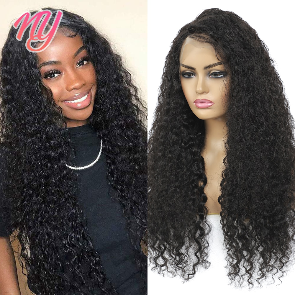 NY Remy Human hair Deep Wave Black beautiful Indian wigs 28 inches 100% real Gorgeous Brown Long Wig Free Part Human hair