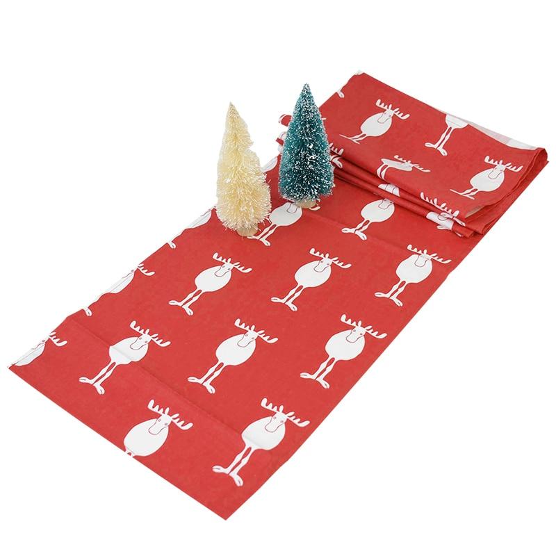 Chemin de Table de noël de style nordique, en tissu de coton, vert et rouge, décoration de la maison, pour noël et le nouvel an