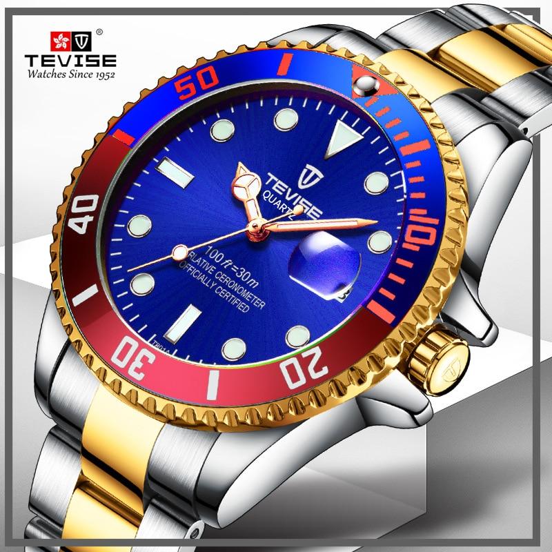 Brand Tevise Quartz Watch Men Luxury Waterproof Man Business Calendar Mens Wristwatch Stainless Stee