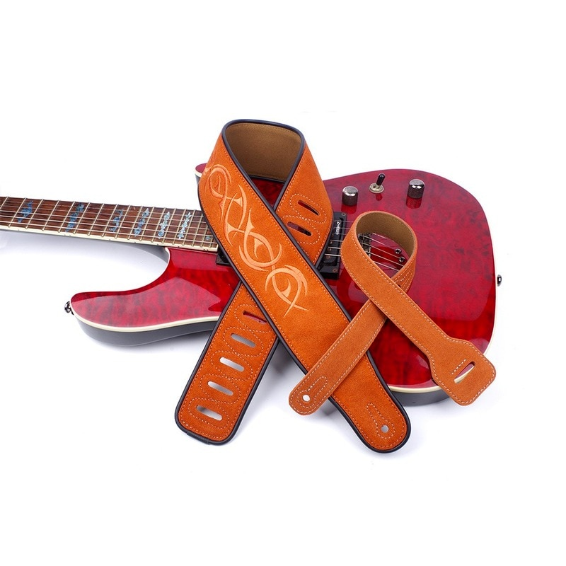 nubuck leather soft durable guitar strap adjustable cowhide acoustic electric bass strap guitar belt guitar parts accessories Nubuck Leather Soft Durable Guitar Strap Adjustable Cowhide Acoustic Electric Bass Strap Guitar Belt Guitar parts Accessories