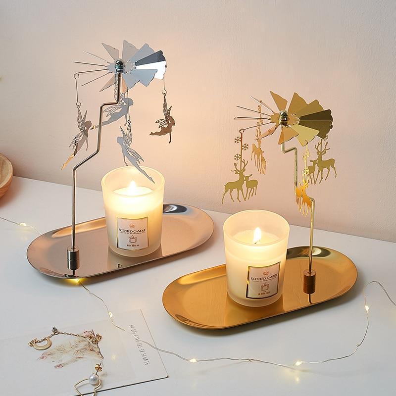 Metall Rotierenden Leuchter Revolving Eisen Tablett Kerzenhalter Moderne Wohnkultur Leuchter Candlelight-Dinner Dekorationen