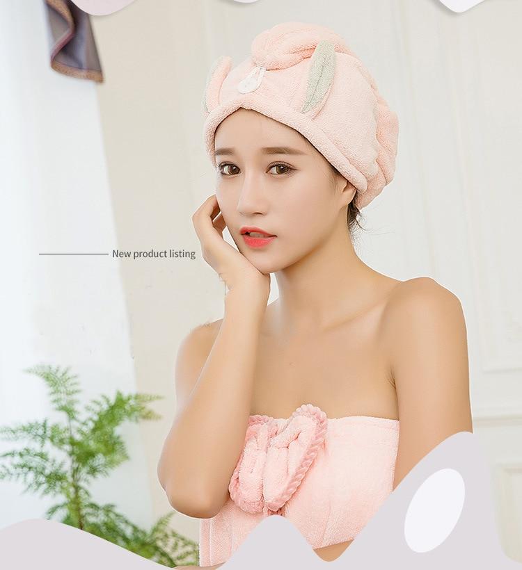 Shower cap women bath cap microfibra Hair Turban towel quick dry towel dry hair cap Cartoon rabbit ears hair bonnets drying wrap