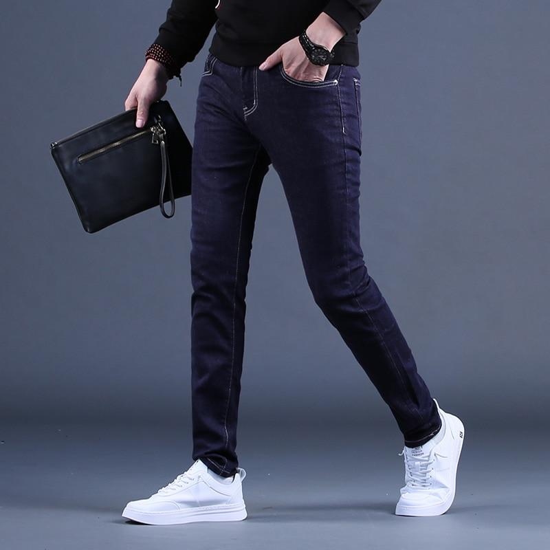 تصميم بسيط الرجال الجينز الخريف الشتاء عادية الأزرق سليم صالح الدينيم السراويل