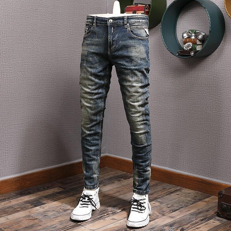 Джинсы мужские рваные в винтажном стиле, модные Эластичные зауженные брюки из денима, темно-синие винтажные дизайнерские штаны с вышивкой, ...