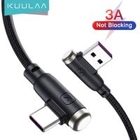 KUULAA кабель с разъемом USB Type-C 3A быстрое зарядное устройство USB шнур (под углом 90 градусов) нейлоновый плетеный кабель для зарядки и передачи да...