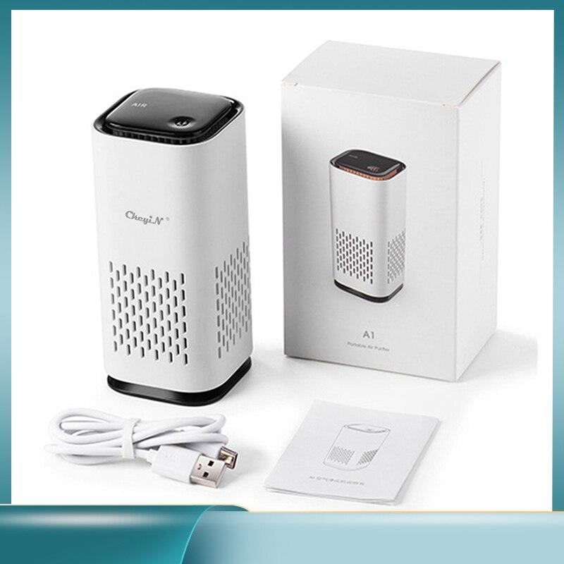 Портативный мини-очиститель воздуха Ckeyin для дома и автомобиля, HEPA фильтры, компактные настольные очистители, фильтрация с ночником