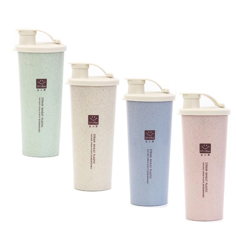 De Agua de plástico de 450ml botella de paja de trigo de Deportes de Shaker estudiante botellas de leche botellas de Taza de Viaje té café de oficina taza