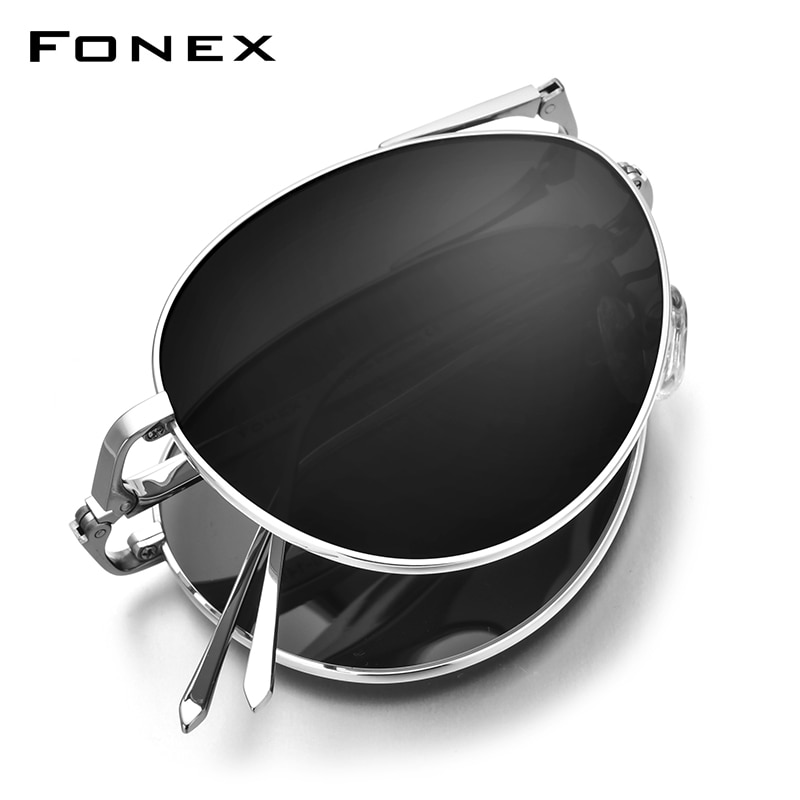 FONEX Pure Titanium Polarized Sunglasses Men Folding Classic Aviation Sun Glasses for Men Aviador High Quality Male Shades 838