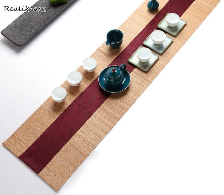 Mantel de mesa de bambú estilo chino Vintage, juego de té, tapete, accesorios, mantel para boda, comedor, fiesta DecorationsLFB195