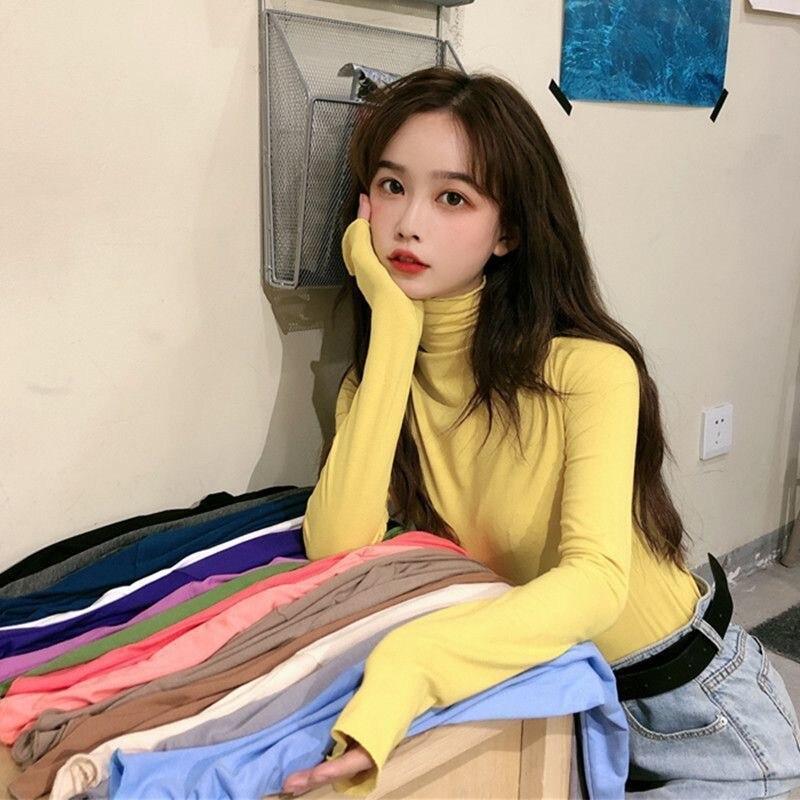 Женская Удлиненная рубашка с высоким воротником осень 2021 новая Корейская версия свободная облегающая женская футболка с длинным рукавом З...