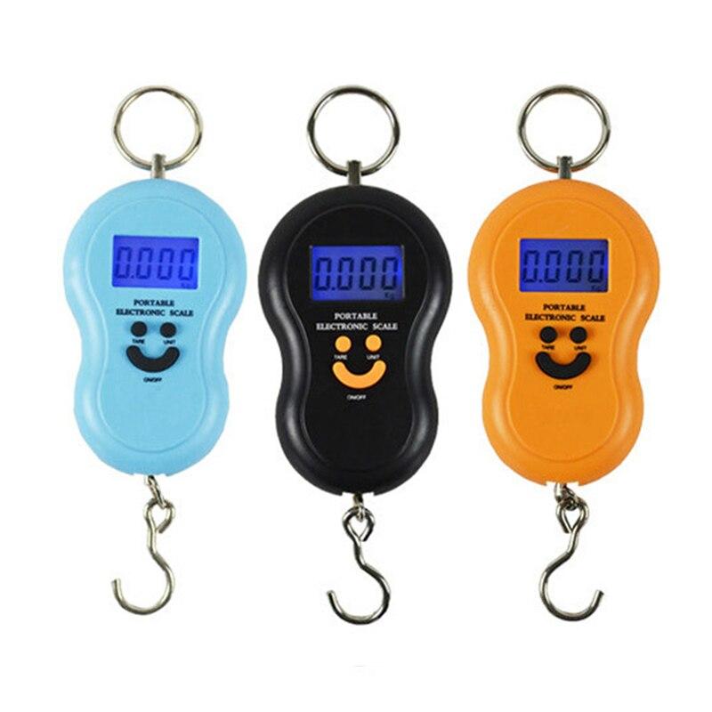 Junejour 50Kg /10g LCD Digital escalas portátil balanza para colgar equipaje Fondo pesca electrónico de bolsillo peso escala Mini escala