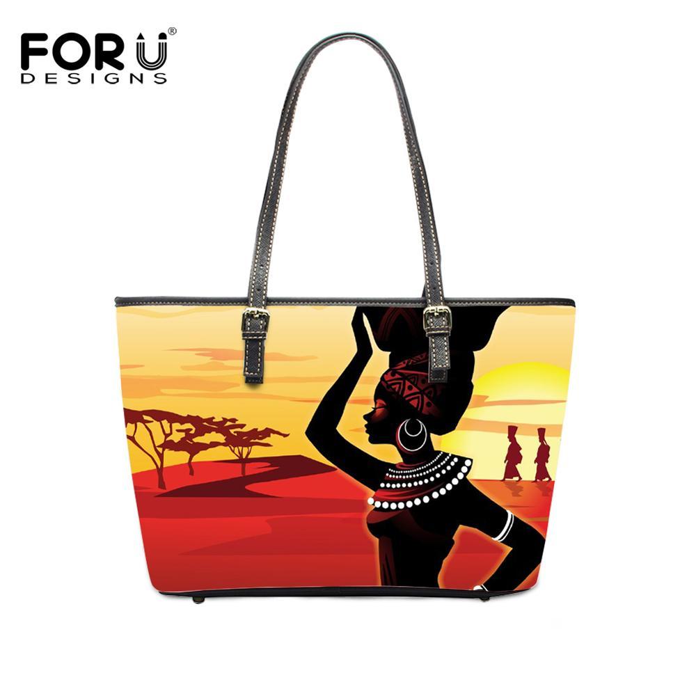 FORUDESIGNS cuadro africano arte Afro Bolso de cuero PU Bolso de mano de diseño de marca bolsos de hombro para damas grandes Bolso Mujer