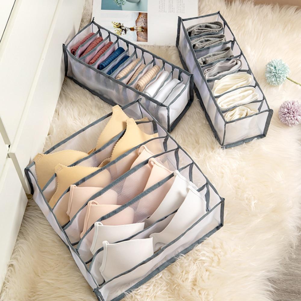 3 pçs prático multi-grades caixa de armazenamento de roupa interior meias sutiã underpant organizador malha treliça gaveta divisor arrumado grid underwear