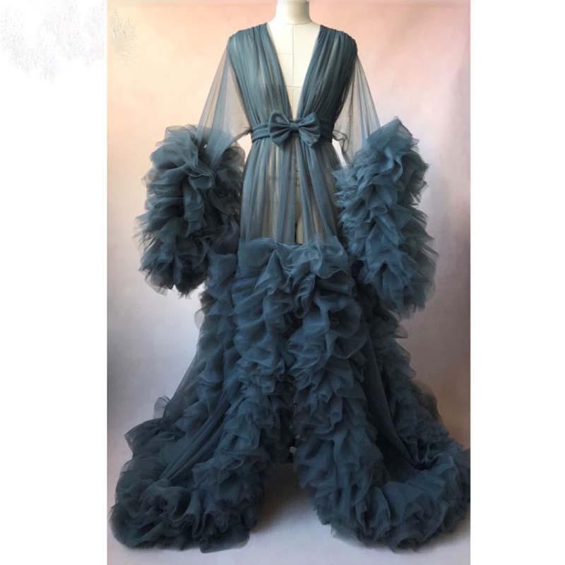 Gorgeous Kimono Evening Dresses A Line abiye Evening Dress Robe De Soiree Full Sleeves Tulle Evening Gowns Long Vestido De Festa