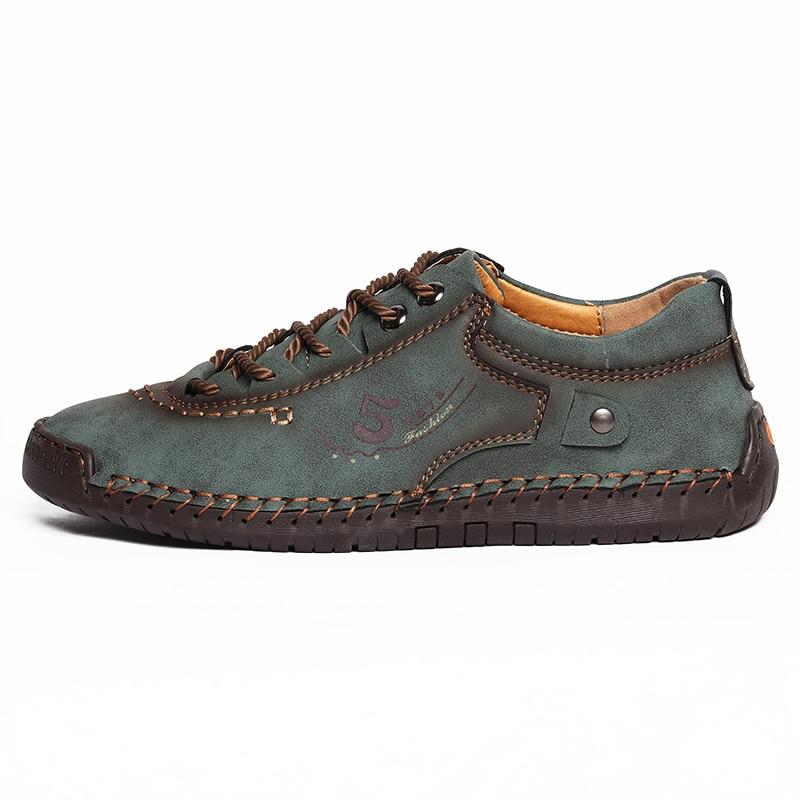Мужская повседневная обувь, кожаные модные мужские кроссовки, дышащая мужская обувь ручной работы, легкие мужские лоферы, мокасины размера ...