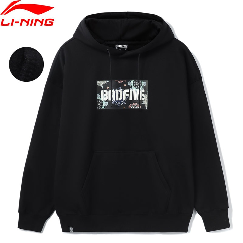 Li-Ning Men JON BURGERMAN BADFIVE Hoodie Warm AT 65%Polyester 35%Cotton Winter Fleece Loose Fit LiNing Sports Swearshirt AWDR773