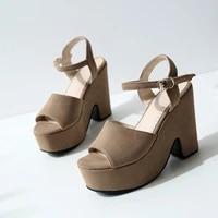 womens sandals summer leisure flock buckle waterproof platform high heel strange style womens shoe plus size 33 43
