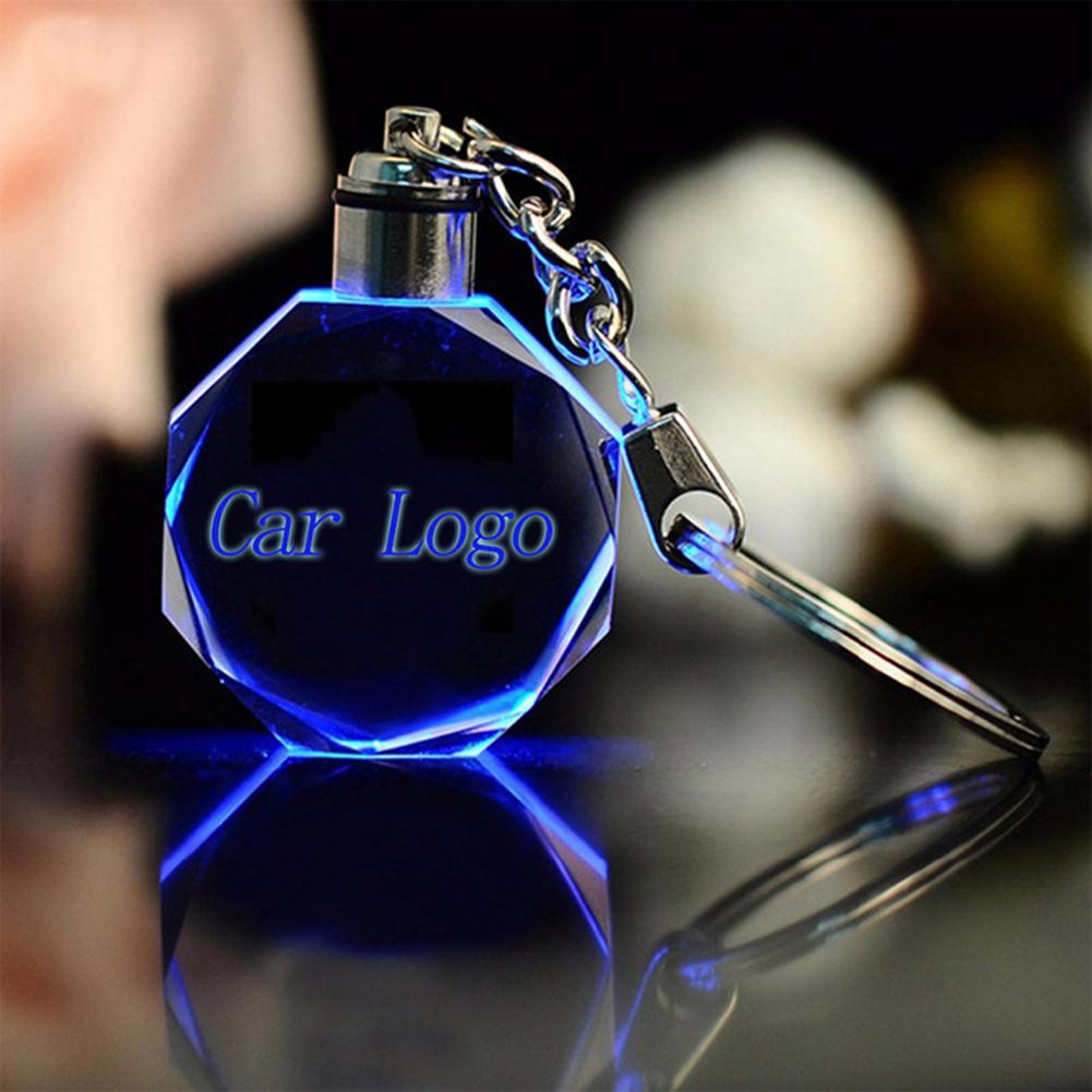 Neue 30 Modell Neue Luminous Glow Schlüssel Kette Auto Logo LED Cut Glas Schlüsselanhänger Partei Supplie Auto Logo Schlüssel Ring schlüsselanhänger
