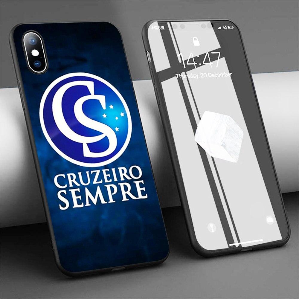 Coque cruzeiro sempre macio silicone caso do telefone para o iphone 11 pro max x 5S 6s xr xs max 7 8 plus caso capa de telefone