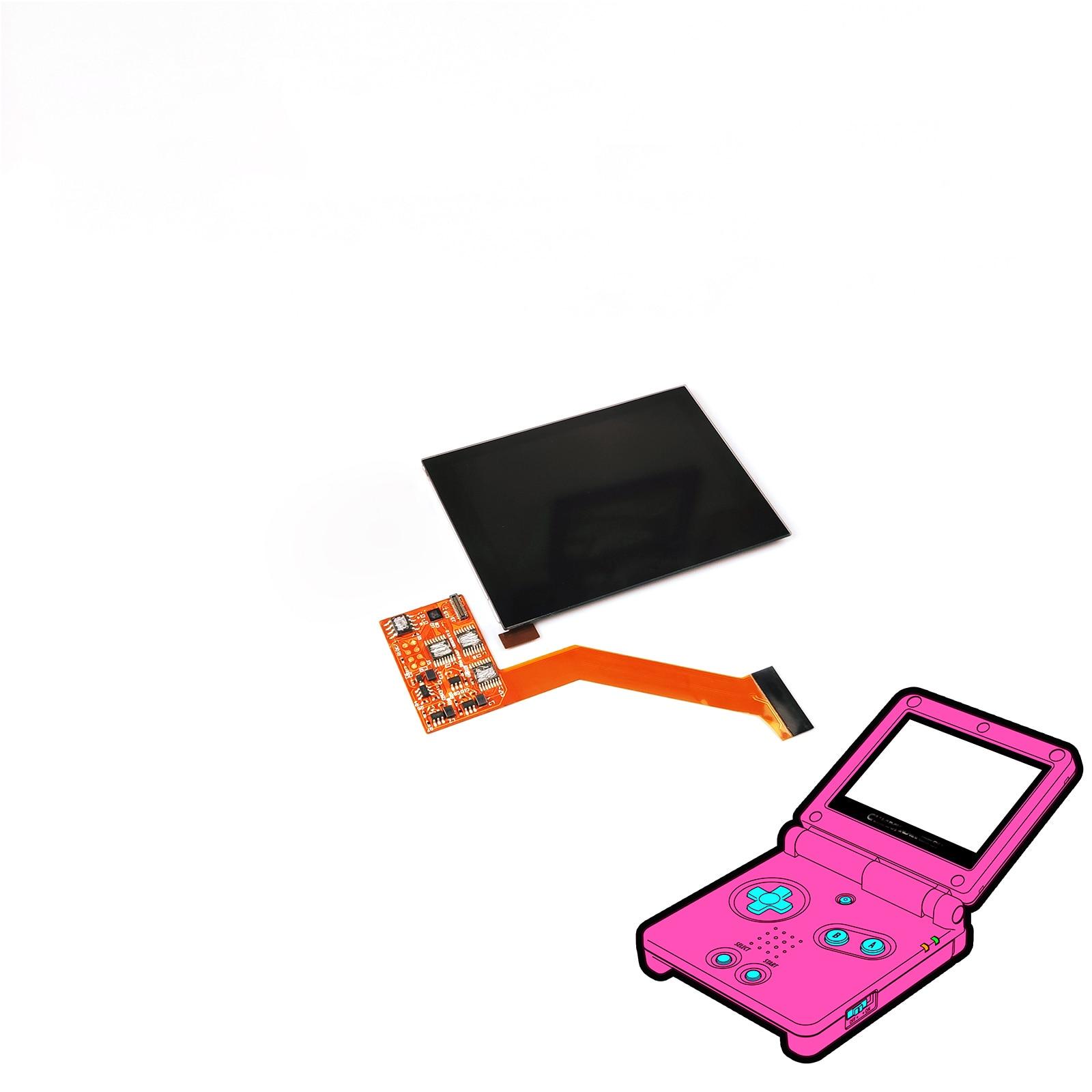 Pantalla LCD IPS para Nintendo GBA SP Pantalla de retroiluminación LCD de alto brillo LCD para Kits de piezas de repuesto GBASP