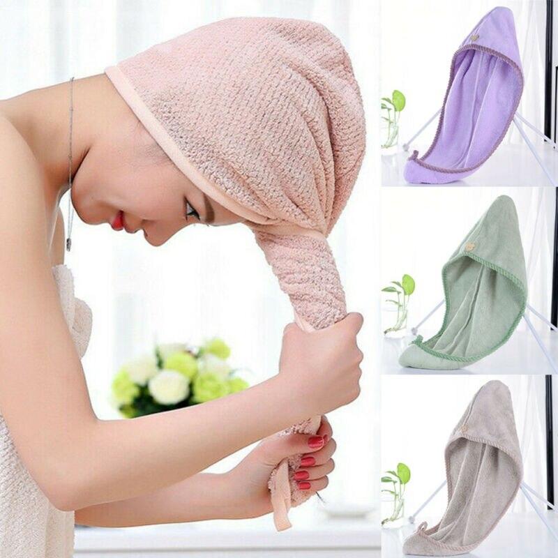 Microfiber Towel Quick Dry Hair Magic Drying Turban Wrap Hat Cap Spa Bathing Hot  Shower Caps