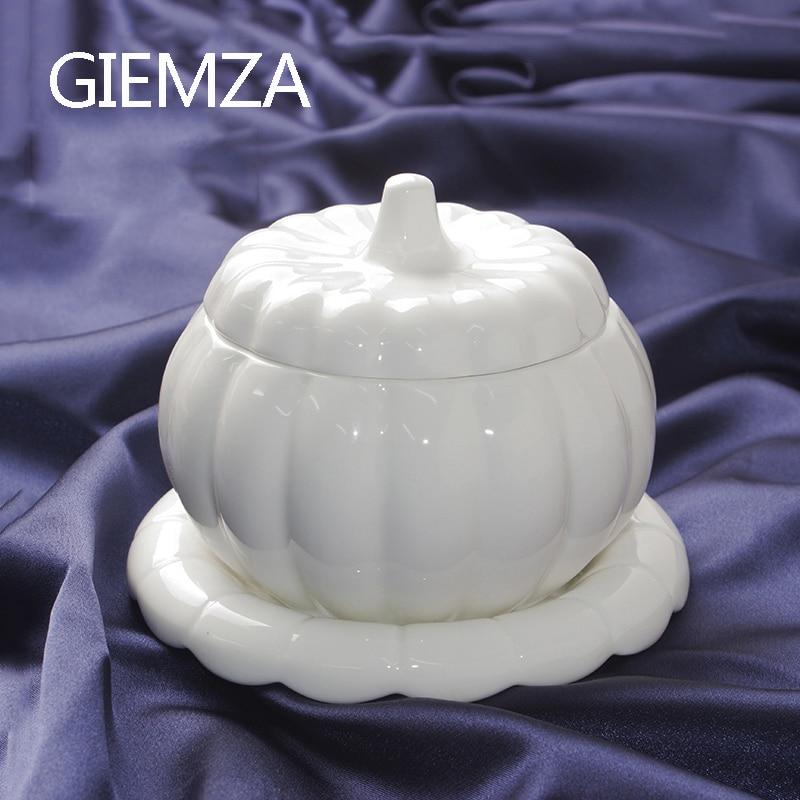 GIEMZA White Pumpkin Bowl with Lid Jingdezhen Ceramics Alien Stew Pot Jar Mini Can for Soup Container Sauce Boat