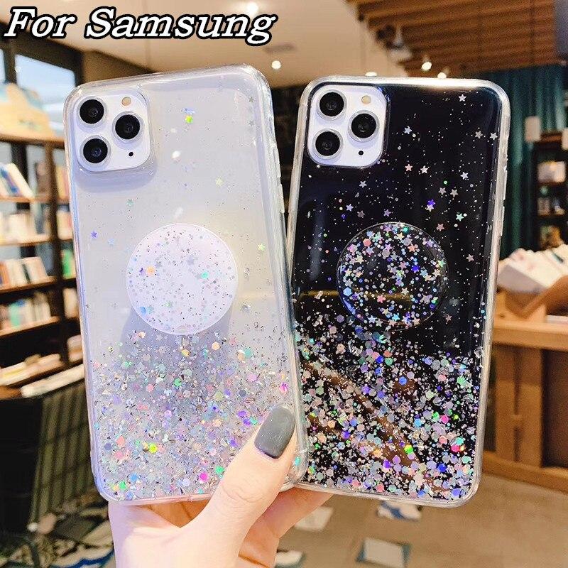 Glitter Marble Diamond Ring Holder Silicone Phone Case For Samsung S8 S9 S10 Plus Note 10 9 8 A80 A90 A70 A10S A20E M40 M30 Case