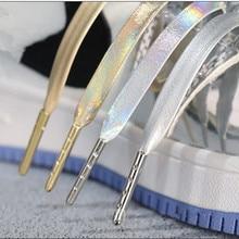 Creative Microfiber Soft Leather Laser Silver Gold Shoelaces 120/140/160 cm Women Men Sports Casual