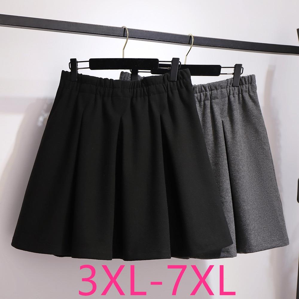 جديد الخريف الشتاء حجم كبير ملابس النساء تنورة صغيرة للنساء كبيرة عادية فضفاض مرونة الخصر مطوي التنانير أسود رمادي 7XL