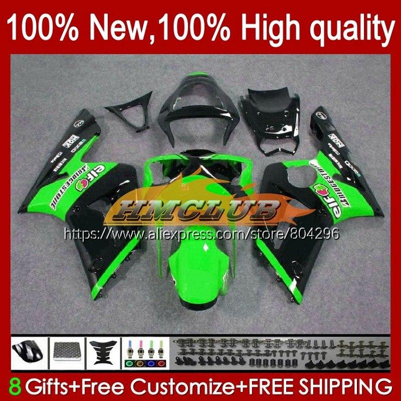 طقم الجسم ل كاوازاكي نينجا 600CC الأخضر الأسود ZX600 ZX636 74No.23 ZX 636 6 R ZX 6R ZX-636 ZX-6R ZX6R 03 04 2003 2004 Fairings