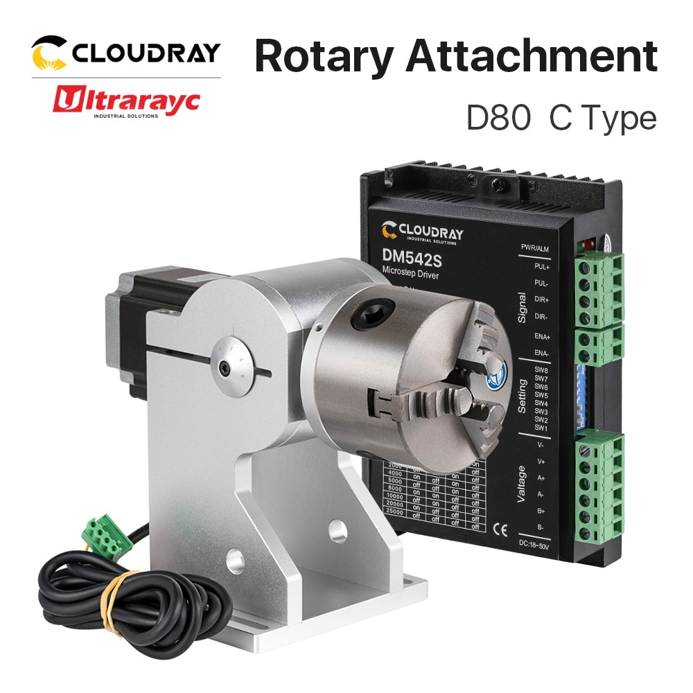 Ultrarayc Rotary Attachment Dia.80mm Rotary Device Fixture Gripper Three Chuck Rotary Worktable for Laser Marking Parts Machine