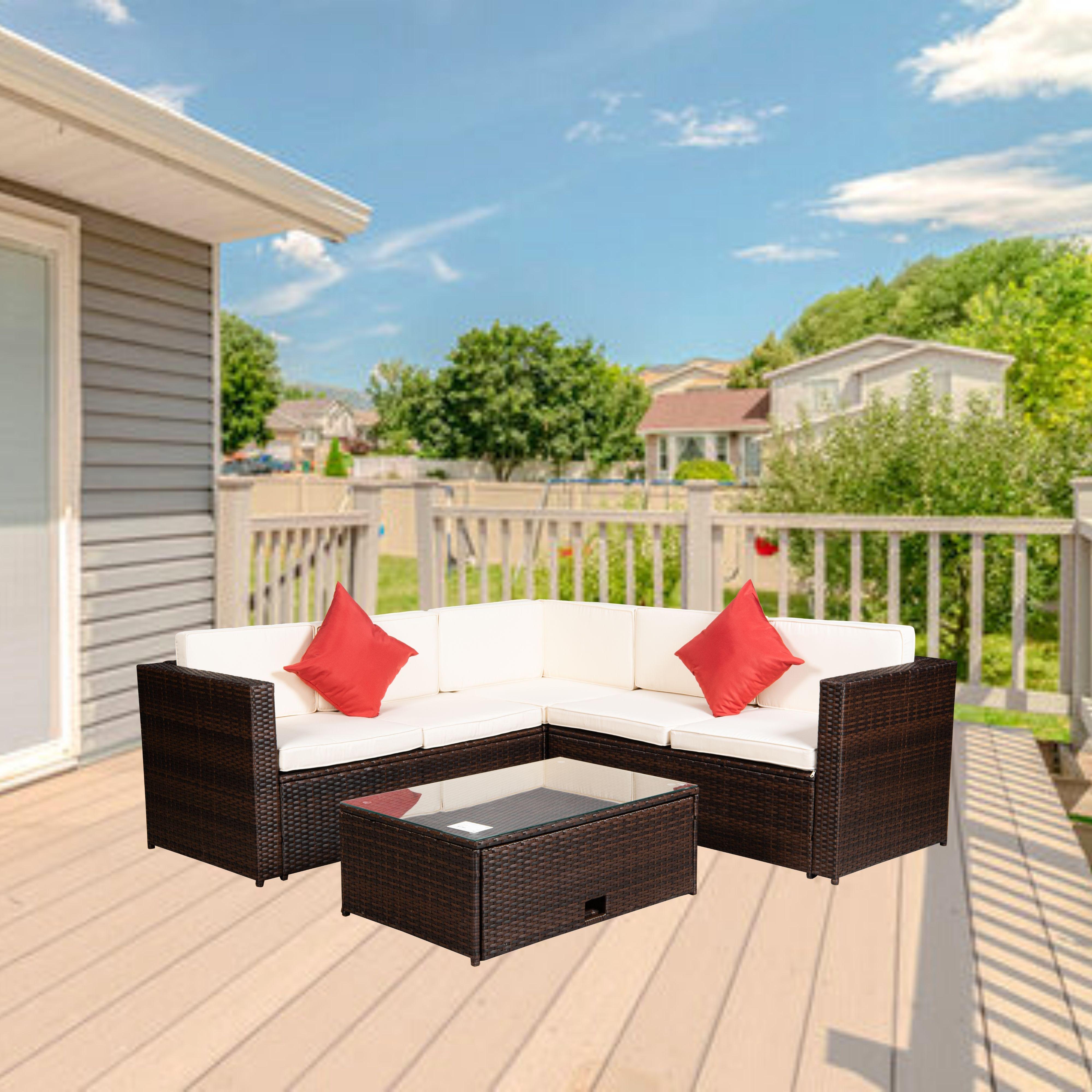Набор секционных диванов из 4 предметов, Плетеный комплект мебели для патио в скандинавском стиле, садовая мебель для дома