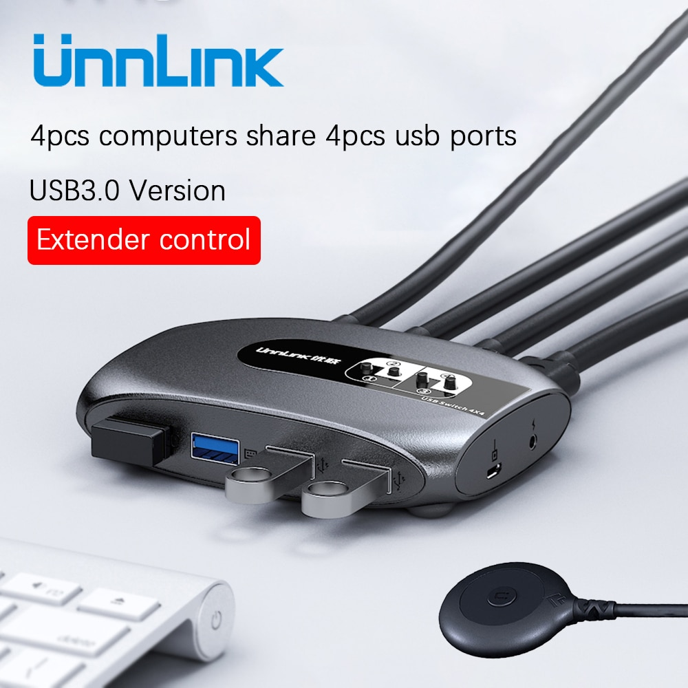Unnlink 2 4 Ports KVM Switch USB 3.0 with Extender USB 3.0 X4 Keyboard Mouse Printer U Disk for 2 PCs Computer Laptop Switch Box