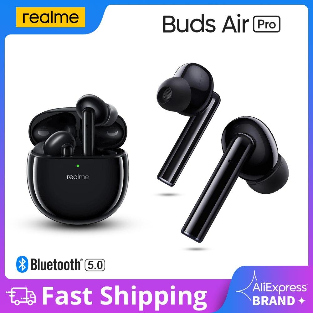 Realme براعم الهواء برو سماعة أذن أصلية لا سلكية نشط إلغاء الضوضاء بلوتوث 5.0 سماعة 10 مللي متر باس دفعة سائق سماعات