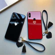 Чехол для Xiaomi Redmi Note 7 6 5 Pro, жесткий стеклянный чехол с красным, черным сердцем и бесплатным ремешком для Redmi 7 7A 6A 5A 5 Plus 6 Pro, корпус