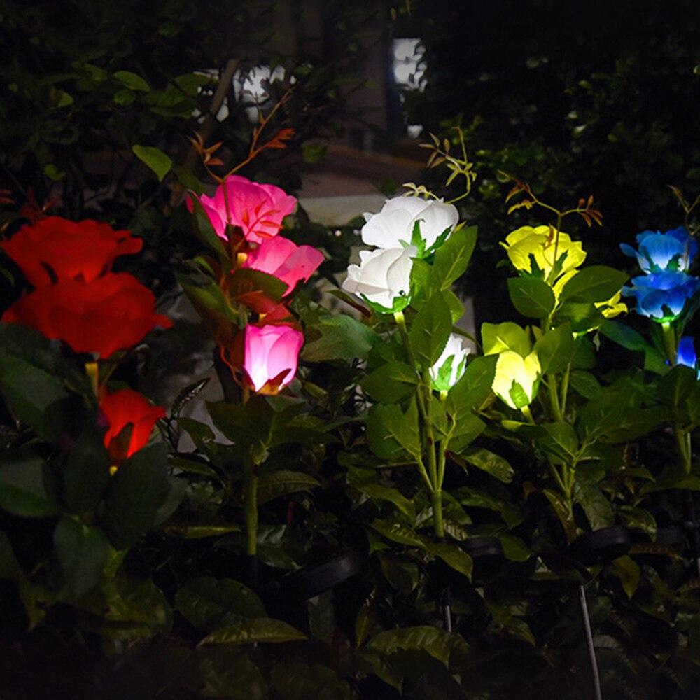 Luz solar de jardín LED Solar tres cabezas luz rosa Villa para exteriores Jardín lámpara insertada IP65 cinco colores disponibles lámpara solar