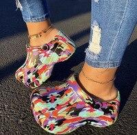 Женские леопардовые туфли, шлепанцы с дырками, сандалии на высоком каблуке, модная уличная пляжная обувь, на платформе и каблуке, лето