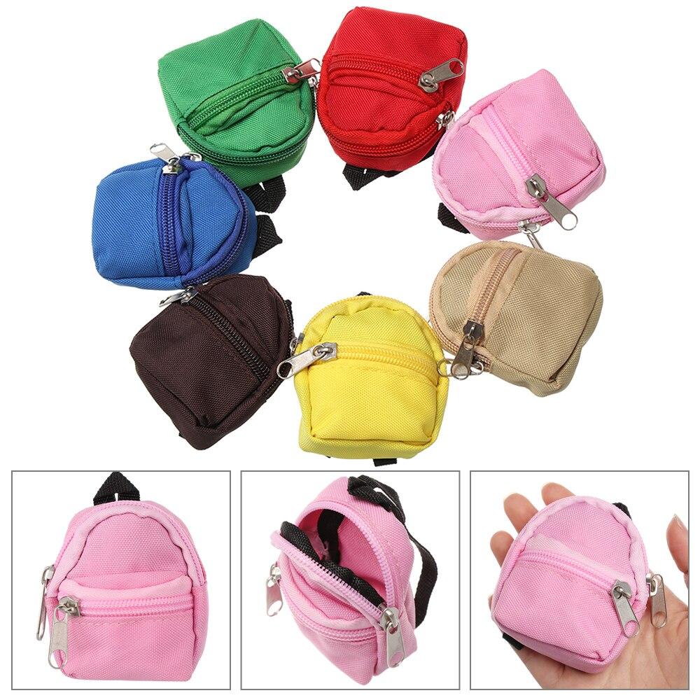 1 Pza Mini BJD/SD mochila para muñecas Juguetes Accesorios pequeña tela doble cremallera muñeca bolsa cero cartera niños regalos