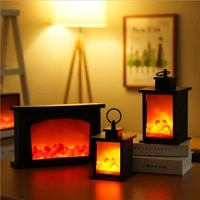 led simulated fireplace candle flame effect night light lamp retro lantern usb battery power romantic living room home bar decor