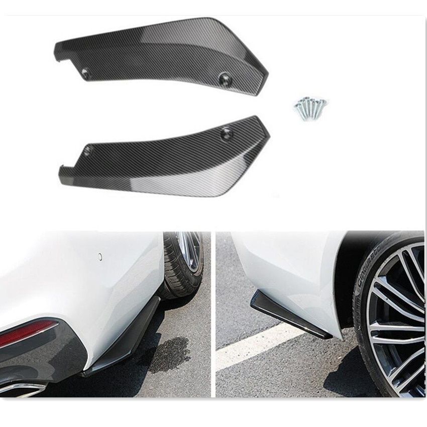2 uds coche Universal parachoques trasero de fibra de carbono de labios...