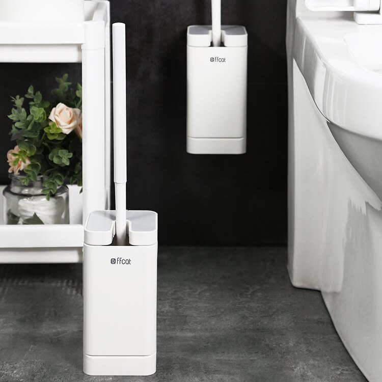 Wall Mounted White Toilet Brush Nordic Space No Dead Spots Tools Toilet Brush Cleaning with Flip Brosse Wc Bathroom Fixture DH50