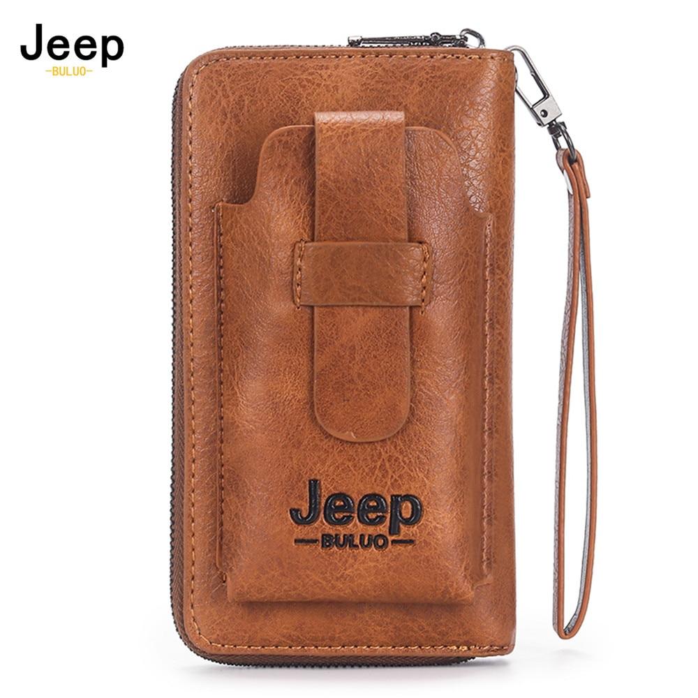 Cartera de mano para hombre de cuero JEEP BULUO, Cartera de marca para teléfono, doble cremallera, cartera bolso de mano de cuero de lujo, gran capacidad