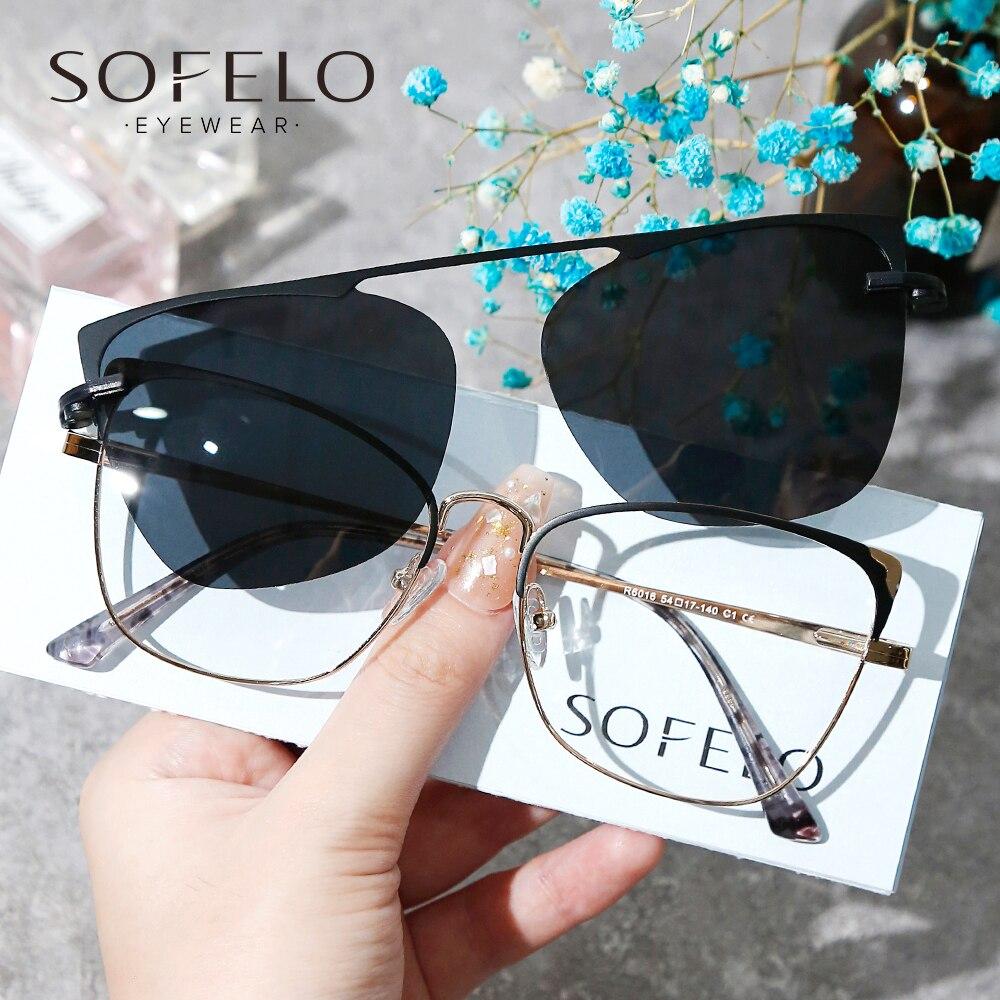 Fashion Polarized Magnet Clip On Eyeglasses Women Optical Myopia Prescription Eye Glasses Female Pro