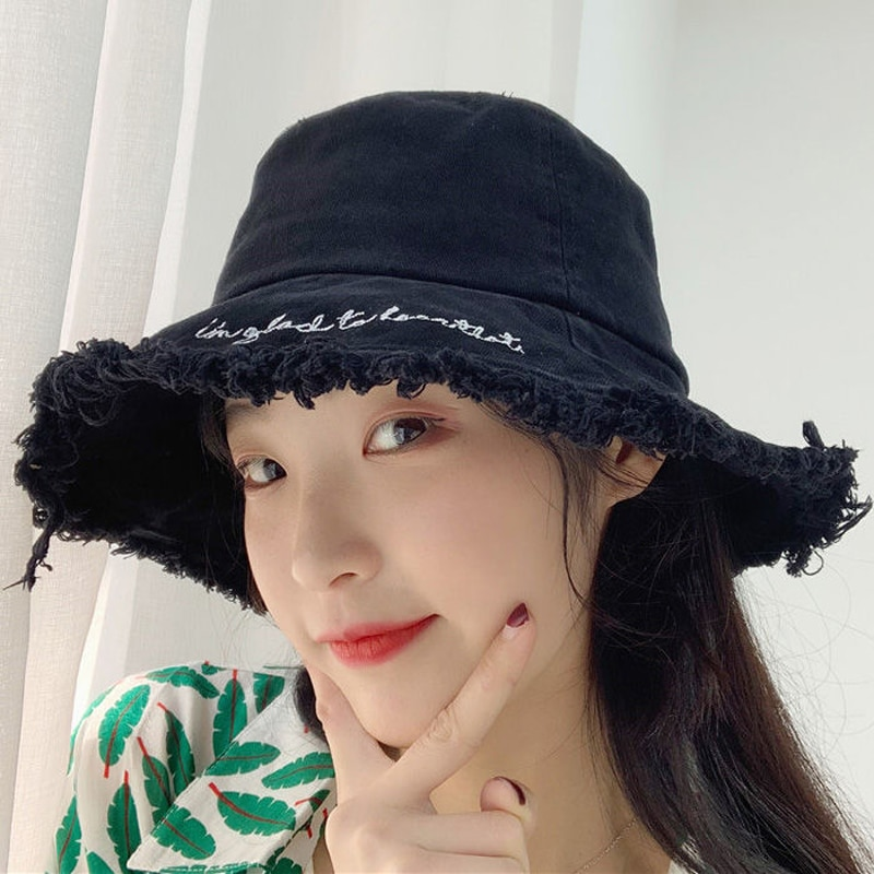 Lona primavera verão bordado balde chapéu para mulher feminino gorro boné pico panamá chapéu chapéu de pesca chapéu chapéu chapéu balde
